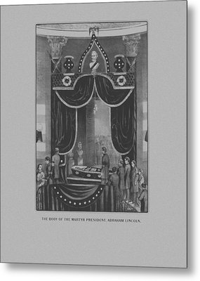 President Abraham Lincoln Lying In State Metal Print