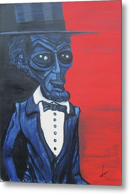 President Alienham Lincoln Metal Print by Similar Alien