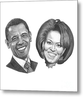 President And First Lady Obama Metal Print by Murphy Elliott