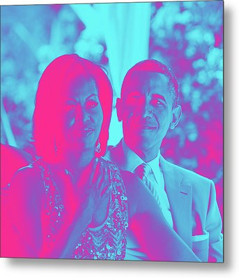 President Barack Obama And The First Lady Michelle Obama Metal Print