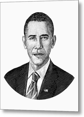 President Barack Obama Graphic Black And White Metal Print by War Is Hell Store