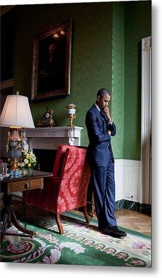 President Barack Obama Waits Metal Print