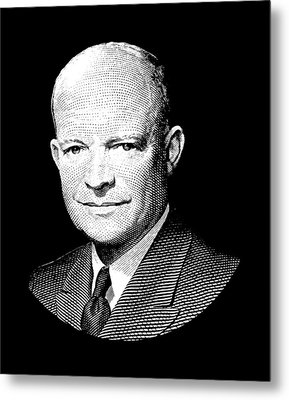 President Dwight Eisenhower Graphic - Black And White Metal Print by War Is Hell Store