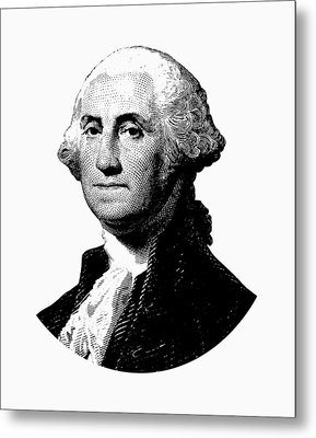 President George Washington Graphic - Black And White Metal Print by War Is Hell Store