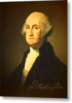 President George Washington Portrait And Signature Metal Print by Design Turnpike