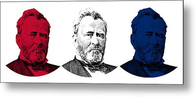 President Grant Red White And Blue Metal Print