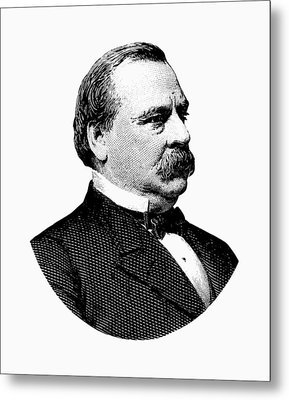 President Grover Cleveland - Black And White Metal Print by War Is Hell Store