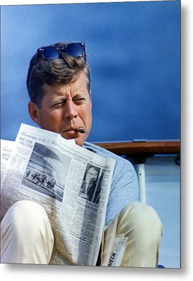 President John Kennedy Smoking A Cigar Metal Print by Everett
