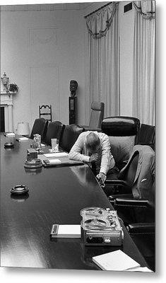 President Johnson Appears Agonized Metal Print by Everett