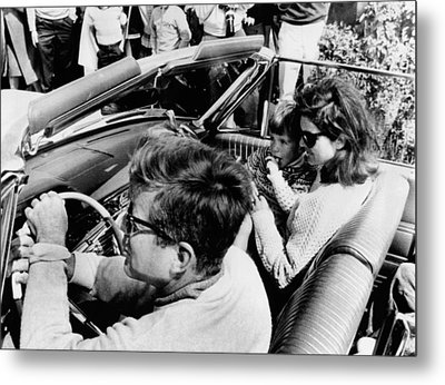 President Kennedy Drives An Open Car Metal Print by Everett