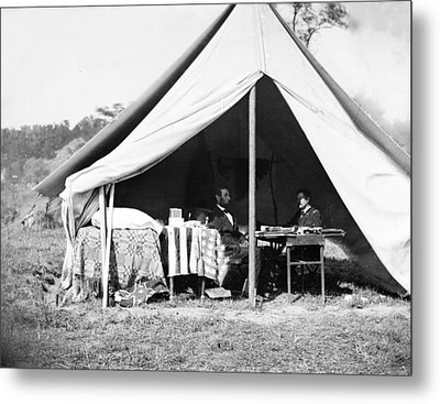 President Lincoln And Gen. George B Metal Print by Everett