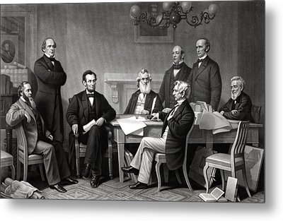 President Lincoln And His Cabinet Metal Print by War Is Hell Store