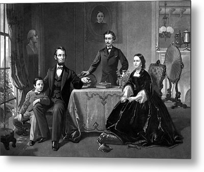 President Lincoln And His Family  Metal Print