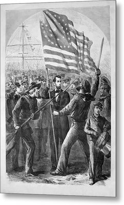 President Lincoln Holding The American Flag Metal Print