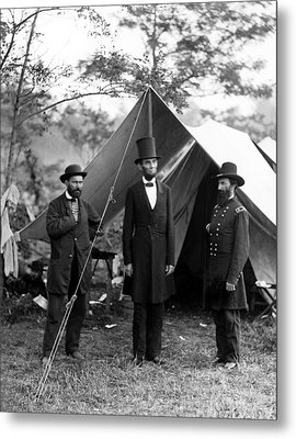 Metal Print featuring the photograph President Lincoln Meets With Generals After Victory At Antietam by International  Images