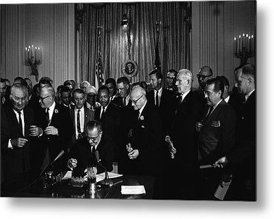 President Lyndon Johnson, Watched Metal Print by Everett