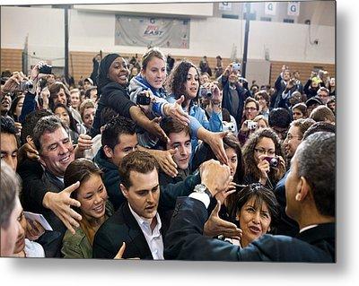 President Obama Shakes Hands Following Metal Print