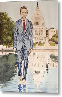 President Obama Walking On Water Metal Print by Andrew Bowers