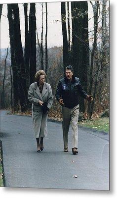 President Reagan Walking Metal Print by Everett