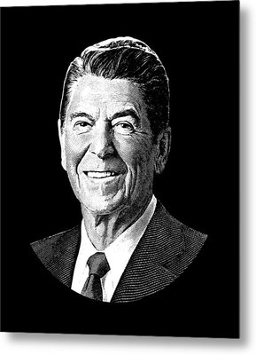 President Ronald Reagan Graphic - Black And White Metal Print by War Is Hell Store
