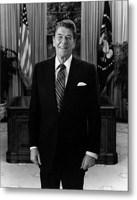 President Ronald Reagan In The Oval Office Metal Print by War Is Hell Store