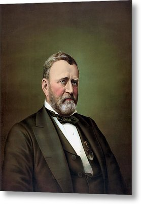 President Ulysses S Grant Portrait Metal Print by War Is Hell Store