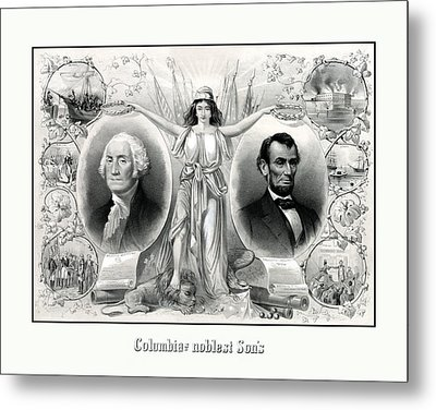 Presidents Washington And Lincoln Metal Print by War Is Hell Store