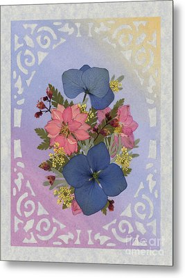 Pressed Flowers Arrangement With Pink Larkspur And Hydrangea Metal Print