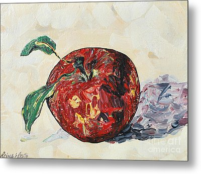 Metal Print featuring the painting Pretty Apple by Reina Resto