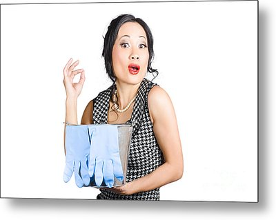 Pretty Asian Lady Giving Ok Gesture To Clean Metal Print