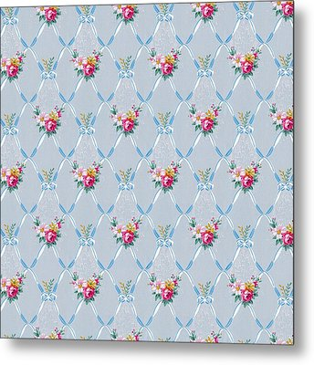 Metal Print featuring the digital art Pretty Blue Ribbons Rose Floral Vintage Wallpaper by Tracie Kaska