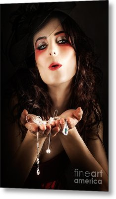 Pretty Elegant Lady Holding Jewelry Necklaces Metal Print by Jorgo Photography - Wall Art Gallery