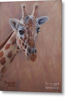 Pretty Eyes - Giraffe Metal Print