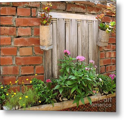 Pretty Garden Wall Metal Print by Yali Shi
