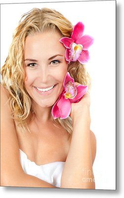 Pretty Girl With Pink Flowers Metal Print
