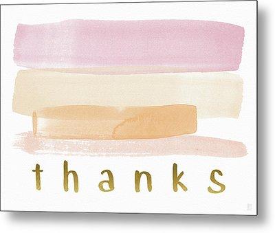 Pretty In Pink Watercolor Stripe Thank You- Art By Linda Woods Metal Print by Linda Woods