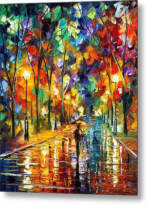 Pretty Night - Palette Knife Oil Painting On Canvas By Leonid Afremov Metal Print