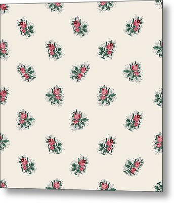 Metal Print featuring the digital art Pretty Pink Roses Girly Vintage Wallpaper Pattern by Tracie Kaska