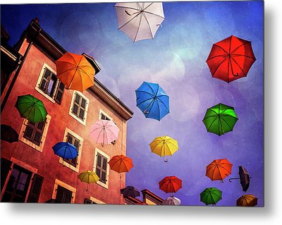 Pretty Umbrellas In Carouge Geneva  Metal Print