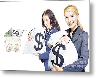 Pretty Young Business Women Holding Sacks Of Money Metal Print by Jorgo Photography - Wall Art Gallery