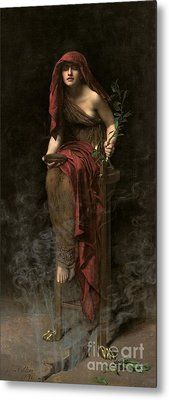 Priestess Of Delphi Metal Print by John Collier