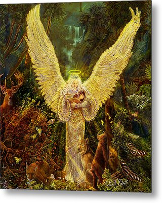 Priestess Of The Woods-angel Tarot Card Metal Print