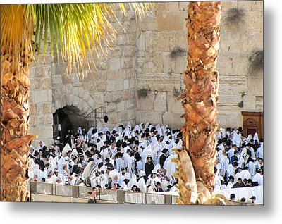 Prayer Of Shaharit At The Kotel During Sukkot Festival Metal Print by Yoel Koskas