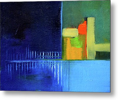 Metal Print featuring the painting Primary Blue Abstract by Nancy Merkle