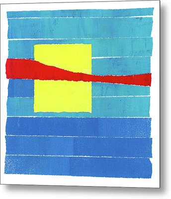 Primary Stripes Collage Metal Print by Carol Leigh
