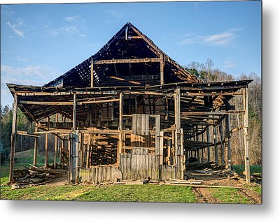 Primative Barn Being Dismantled Metal Print by Douglas Barnett