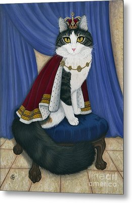 Metal Print featuring the painting Prince Anakin The Two Legged Cat - Regal Royal Cat by Carrie Hawks