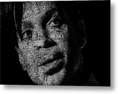 Prince Text Portrait - Typographic Face Poster With The Recorded Album Names Metal Print