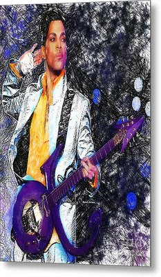 Prince - Tribute With Guitar Metal Print