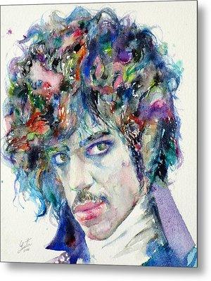 Prince - Watercolor Portrait Metal Print